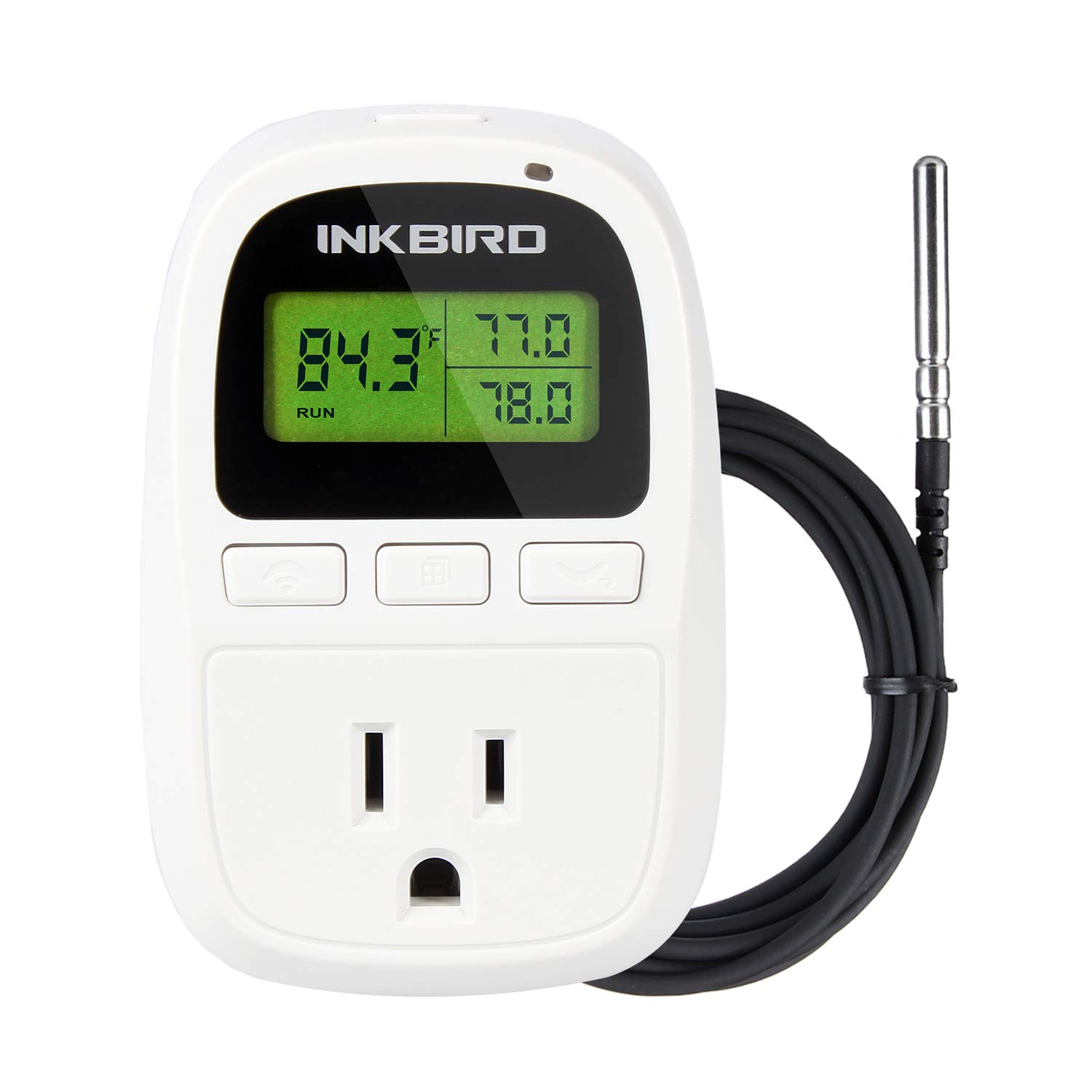 Inkbird 10A Heat Mat Temperature Controller C206 Seeding Thermostats with Outlet and 6.56 Feet NTC Sensor No Cooling and Timer Function
