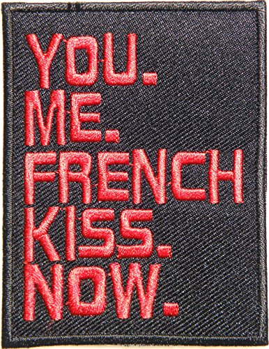 French Kiss Jacket (YOU ME FRENCH KISS NOW Lady Sexy Jacket T-shirt Patch Sew Iron on Embroidered Sign Badge (red))