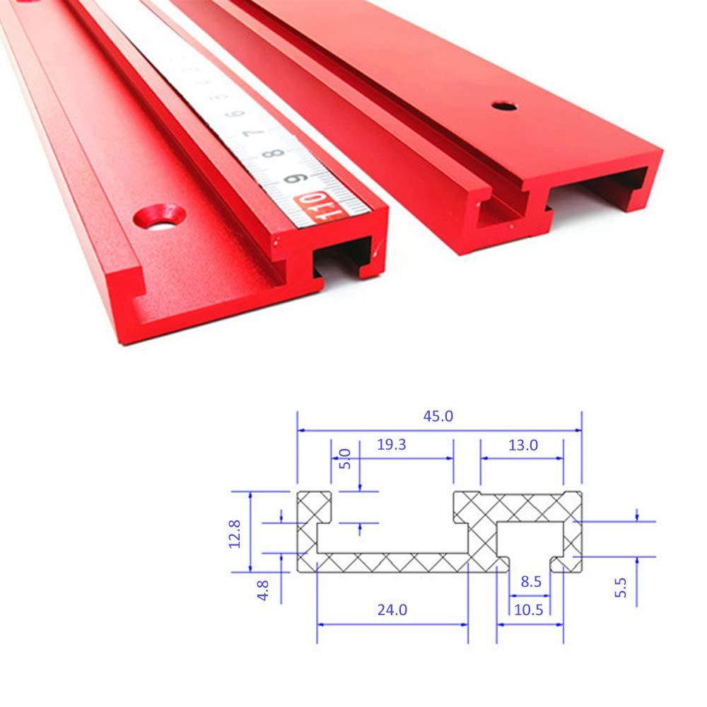400//600//800//1000//1200mm,1000mm Rouge Alliage daluminium T-Track avec Barre d/échelle de 1 m/ètre LYY 45 Type Guide de Chute de Bois