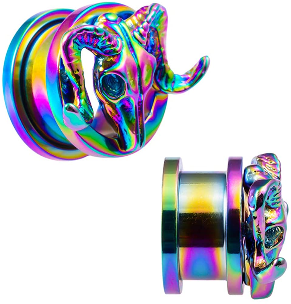 LIZD Stainless Steel Ear Gauge Plugs Stretcher Flesh Tunnels Jewelry Rainbow 3D Goat Skull