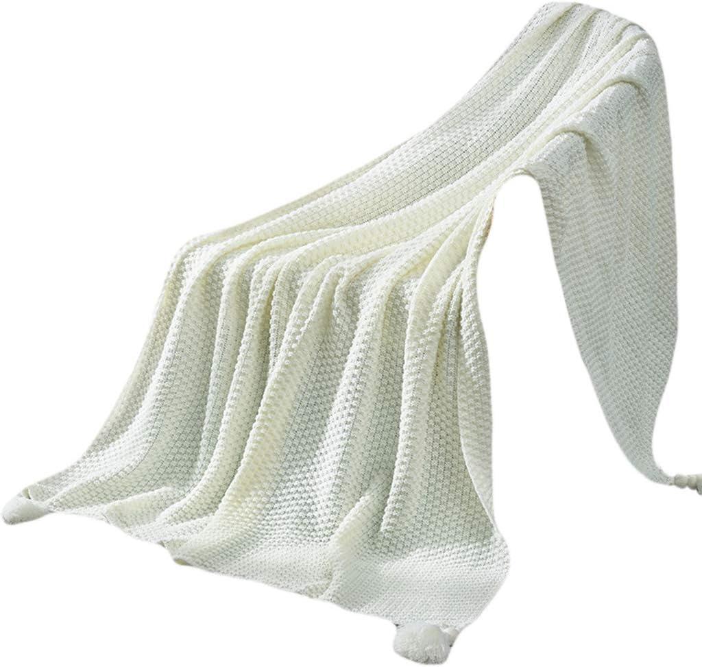 Couverture tricot/ée nordique avec pompons pendants ananas A rose