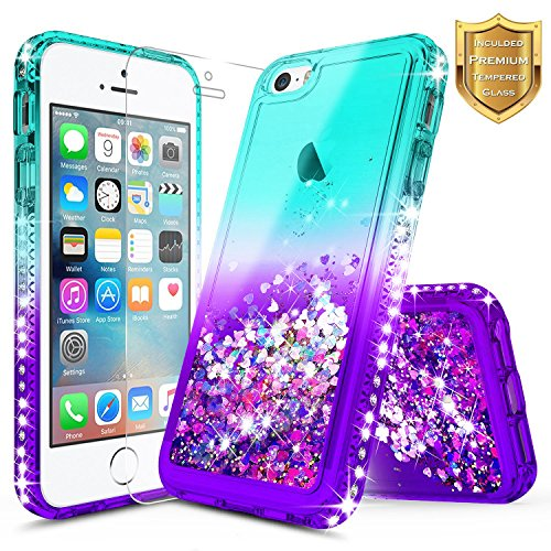 iPhone 5S Case, iPhone SE/iPhone 5 Case w/[Tempered Glass Screen Protector], NageBee Glitter Liquid Quicksand Waterfall Floating Flowing Sparkle Shiny Bling Diamond Girls Cute Case -Aqua/Purple