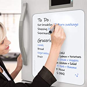 Dry Erase Whiteboard Sheet for Refrigerator, Inmorven 11 x 17 inch Small Non-Magnetic Fridge Calendar Message Board with Stain Resistant Technology for Kitchen, Office, Cabinet, Any Smooth Surface