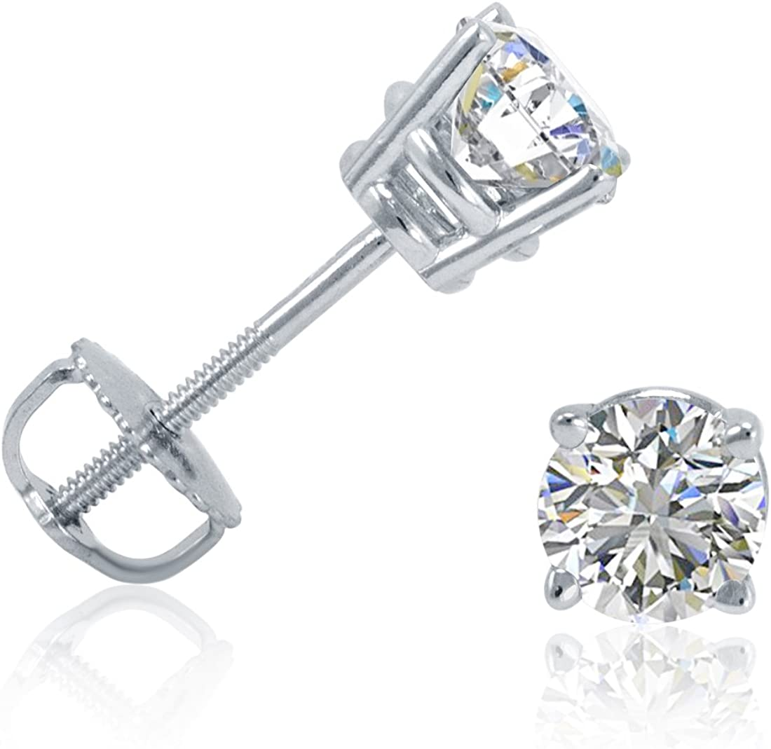 AGS Certified (E-F Color) 1/2ct TW. Diamond Solitaire Stud Earrings in 14K White Gold