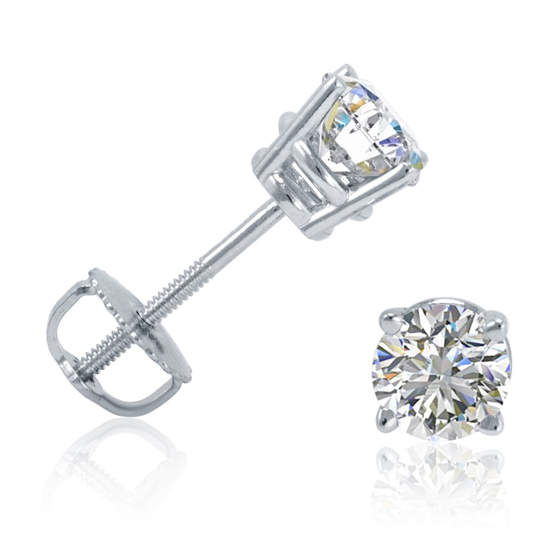AGS Certified 1/2ct tw Round Diamond Stud Earrings set in 14K White Gold with Screw-Backs by Amanda Rose Collection