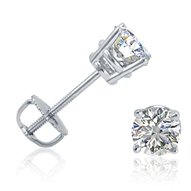 solid screw gold item stud back zirconia cz white in cubic earrings round