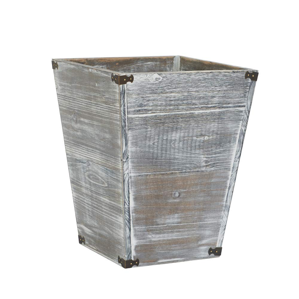 VERGOODR Gray Farmhouse Style Torched Wood Square Waste Bin with Decorative Metal Brackets Trash Can for Bedroom,Living Room, Bathroom & Office by VERGOODR