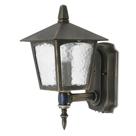 Exterior Lámpara de aluminio para puerta Movimiento Sensor Lámpara Veranda Cristal Farol marrón oro luteq 1581