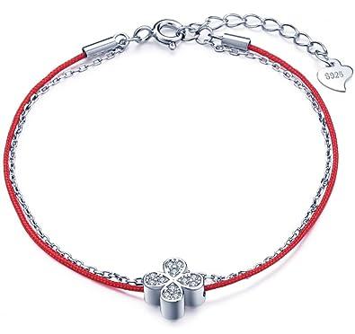 Infinite U Bracelet en argent 925 et corde rouge le trèfle orné zircon  double chaînes cadeau 6dbbf2bafd69