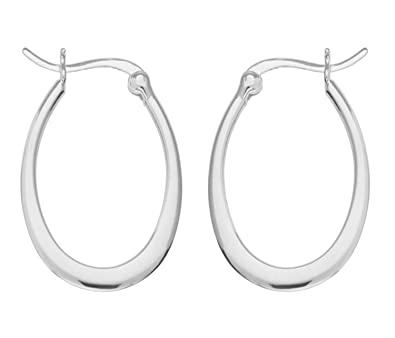 Adara Silver Oval Creole Earrings FEcPJ1i