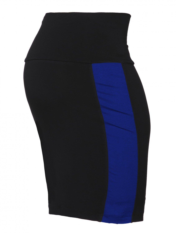 Happy Mama Womens Maternity Colour Block Pencil Skirt Overbump Panel. 554p (Black & Royal Blue, US 10, XL)