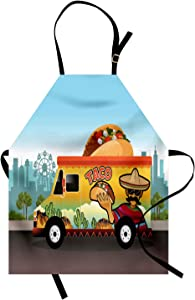 Ambesonne Mexican Apron, Taco Truck on The Road in City Delivery Fast Food Traditional Taste Takeaway Image, Unisex Kitchen Bib with Adjustable Neck for Cooking Gardening, Adult Size, Blue Orange