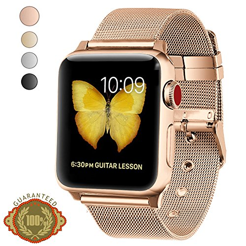 Gold Mesh Buckle (LWCUS Compatible Replacement For Apple Watch Band, Stainless Steel Mesh Loop iWatch Band With Durable Classic Buckle for Apple Watch Series 3 2 1 Hermes Nike+ Sport Edition(38MM-Series3 Gold))