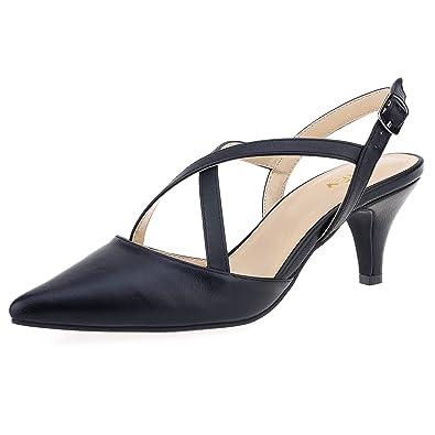 5659fb9d0052 ZriEy Women s Comfortable Low Heel Mid Heel Sandals 2 Inch Heels Sexy Cross  Strappy Pumps Black