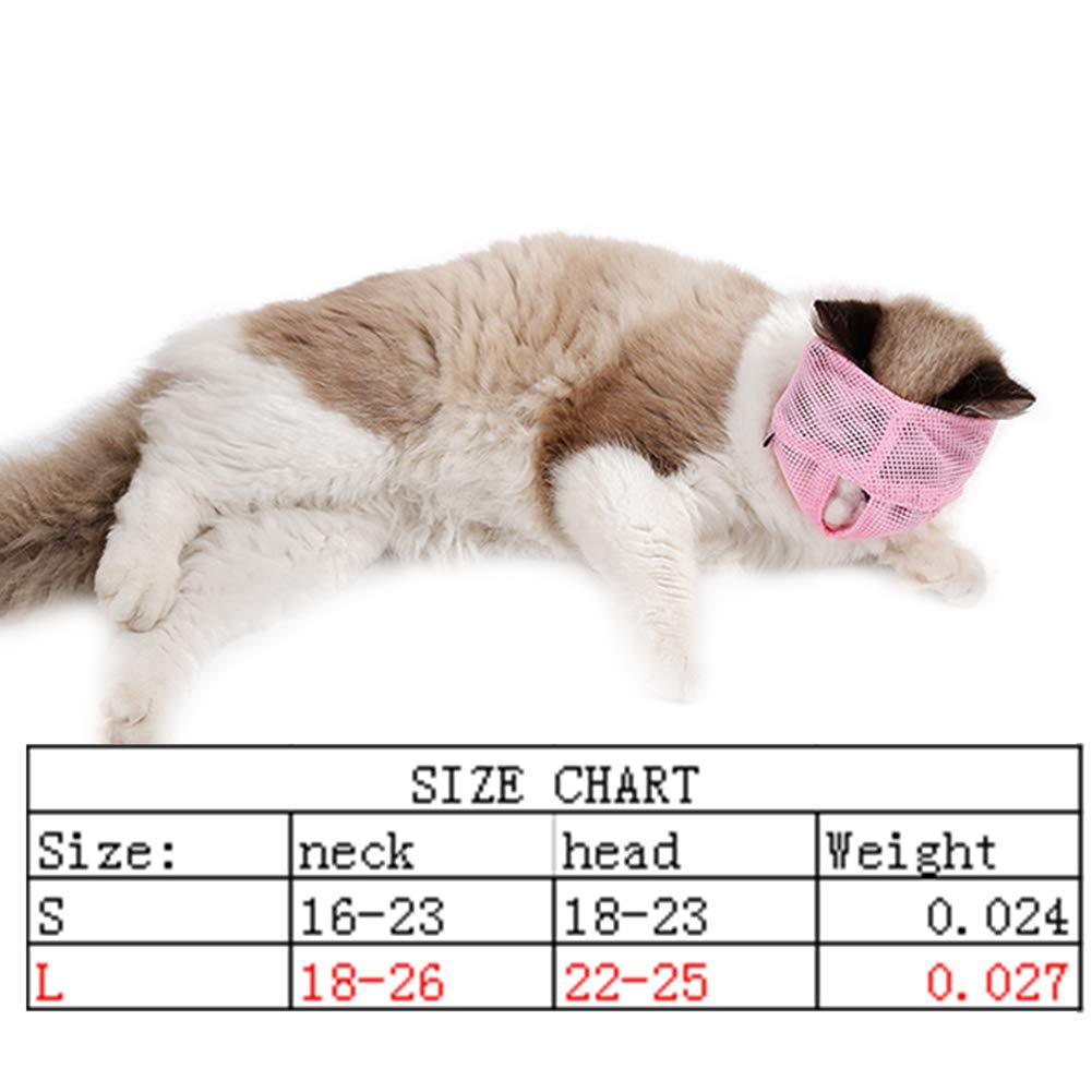 Hemore - Bozal Multifuncional para Gato antibita, Transpirable, para Mascotas, para Evitar Que los Gatos se muevan y masticen, Talla L, ...