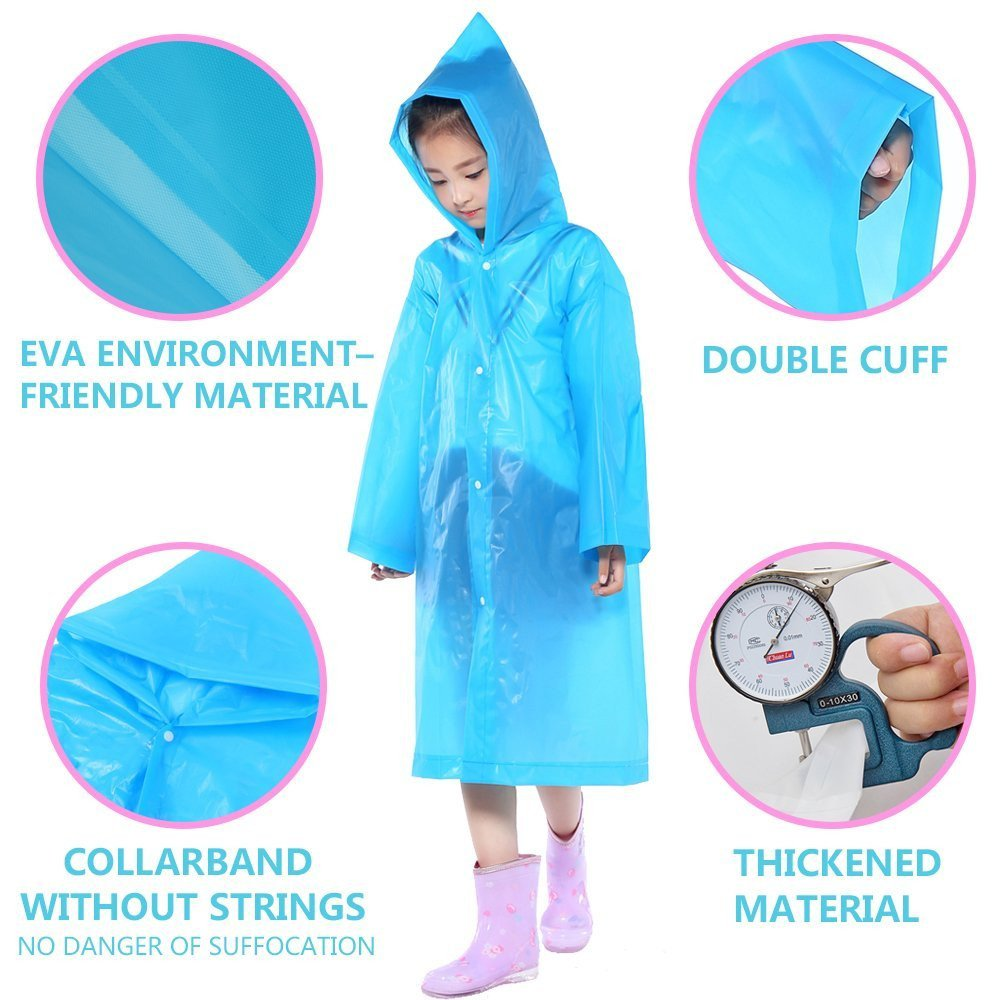 2Pcs Portable Rain Raincoats Pack of 2 Emergency Poncho Unisex Kids Raincoat Reusable Children Rain Ponchos for 6-12 Years Old Waterproof with Hoods for Boys Girls Perfect Camping Blue