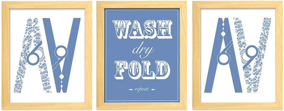 Ihopes Laundry Room Decor Wall Art Prints | Set of Three 8x10 Unframed | Laundry Room Sign Wash Dry Fold Repeat Clothespin| Perfect for Laundry Room Home Decor