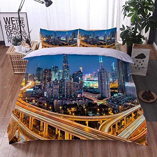 VROSELV-HOME 3 PCS King Size Comforter Set,Shanghai Downtown and Elevated Highway,Soft,Breathable,Hypoallergenic,Luxury Decor Bedding Set 1 Duvet Cover 2 Pillow