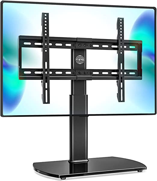 Amazon Com Fitueyes Universal Tv Stand Base Swivel Tabletop Tv Stand With Mount For 32 To 65 Inch Flat Screen Tv 80 Degree Swivel 3 Level Height Adjustable Tempered Glass Base Holds Up To