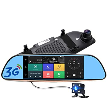 7 Pulgadas IPS 3 G Android Coche Espejo retrovisor DVR GPS Navigation Full HD 1080p Vídeo