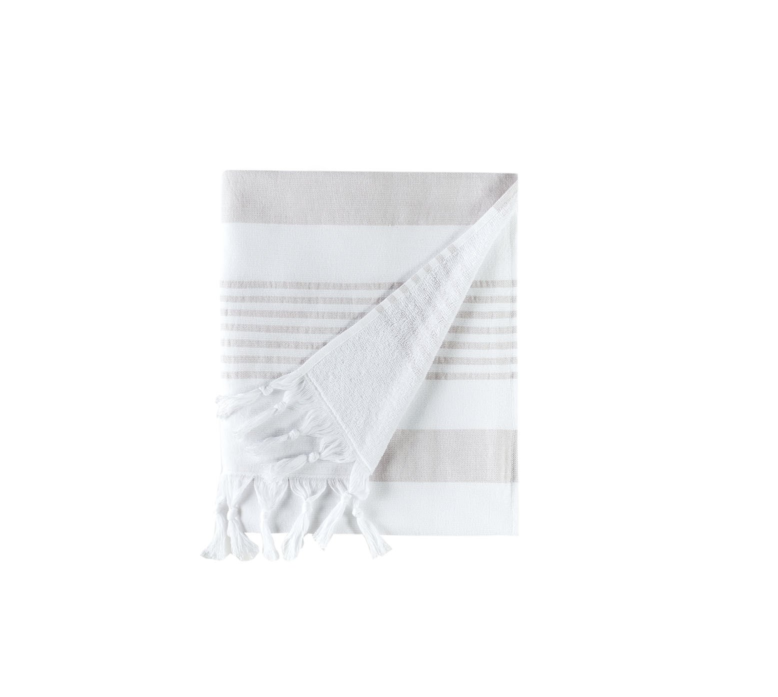 Cottonna 100% Turkish Cotton Fouta Towel | Peshtemal Front with Terry Loop Back | Beach Spa and Bath Towel (White-Moon)