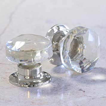 Amazon.com: Pair Of Crystal Cut Faceted Clear Glass Door Knobs ...