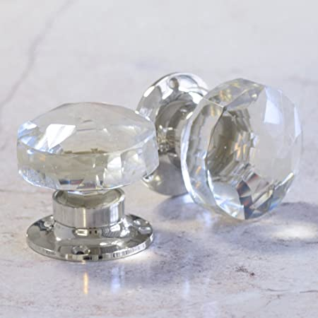 Pair of Crystal Cut Faceted Clear Glass Door Knobs. Large glass ...