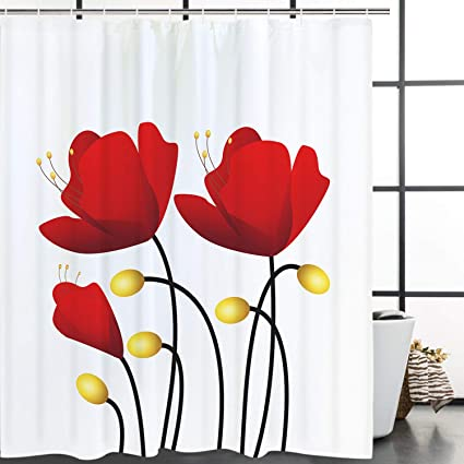 Amazon Smurfs Yingda A Bunch Of Red Flowers Shower Curtain