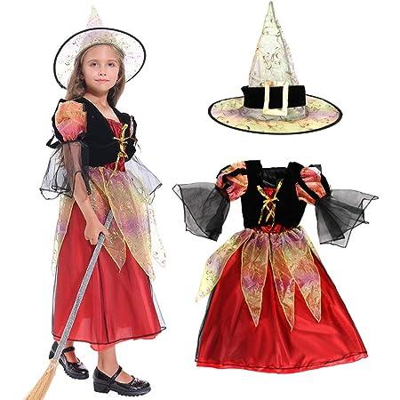Tacobear Costume Strega Bambina Ragazza Halloween Costume con Cappello  Halloween Fancy Dress Bambini (S)  Amazon.it  Giochi e giocattoli cded4b16e871