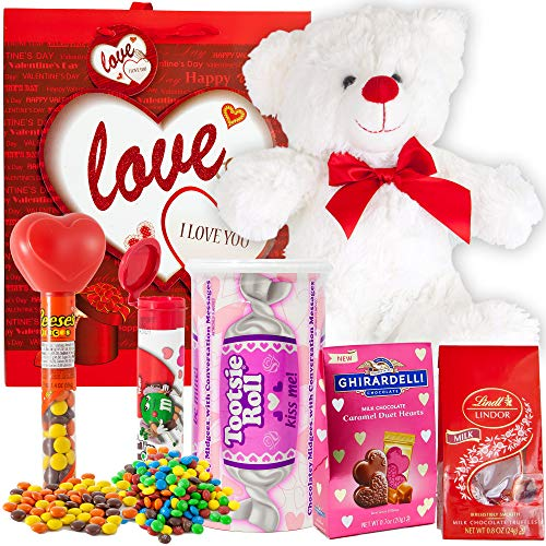 Valentines Day Gift Basket Set | Teddy Bear Plush(12 Inch), Lindt Lindor Milk Truffles, Hershey Reeses Pieces, Ghirardelli Caramel Chocolate, Tootsie Roll Candy, M&M Minis Tube & V-Day Gift Bag (Love)