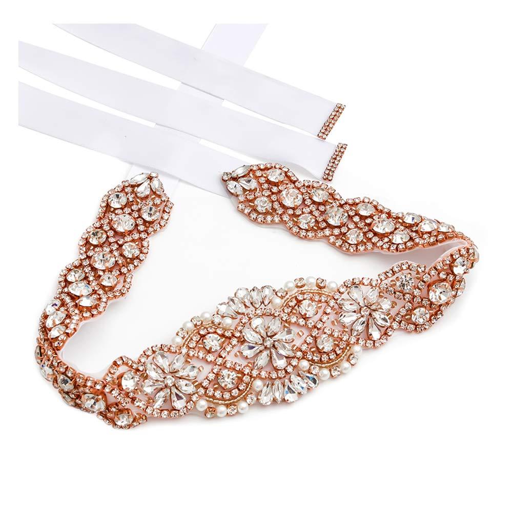 CDM product Rhinestone Bridal Sashes Hand Rose Gold Crystal For Bridal Wedding Belts big image