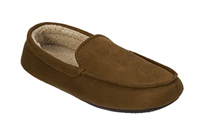 8fbce0b4bb5 Dearfoams Mens Microfiber Suede Moccasin with Decorative Stitch Memory Foam  Slippers (Large (11-