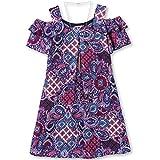 Speechless Girls Plus Size' Printed Flutter Sleeve Cold Shoulder Dress, Purple Navy, 12.5