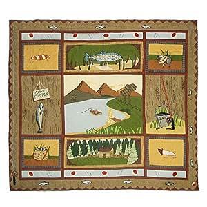 Amazon Com Patch Magic King Gone Fishing Quilt 105 Inch