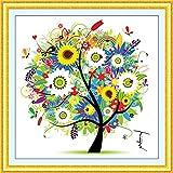 (US) DIY Cross Stitch Kits Handmade Needlework Embroidery Kits Colorful Tree Home Decoration Summer Season