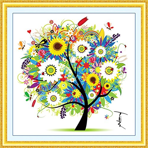 DIY Cross Stitch Kits Handmade Needlework Embroidery Kits Colorful Tree Home Decoration Summer Season