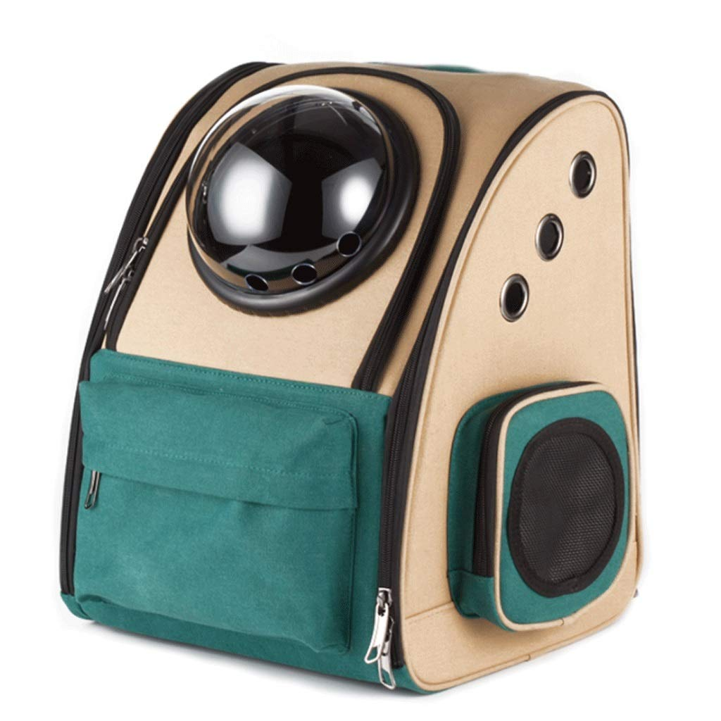 Green and Brown BHAOCAI Space Capsule Pet Bag Warm And Breathable Portable Backpack Cat And Dog Universal Outdoor Travel Handbag Zippered Entrance (color   Three colors, Size   B)