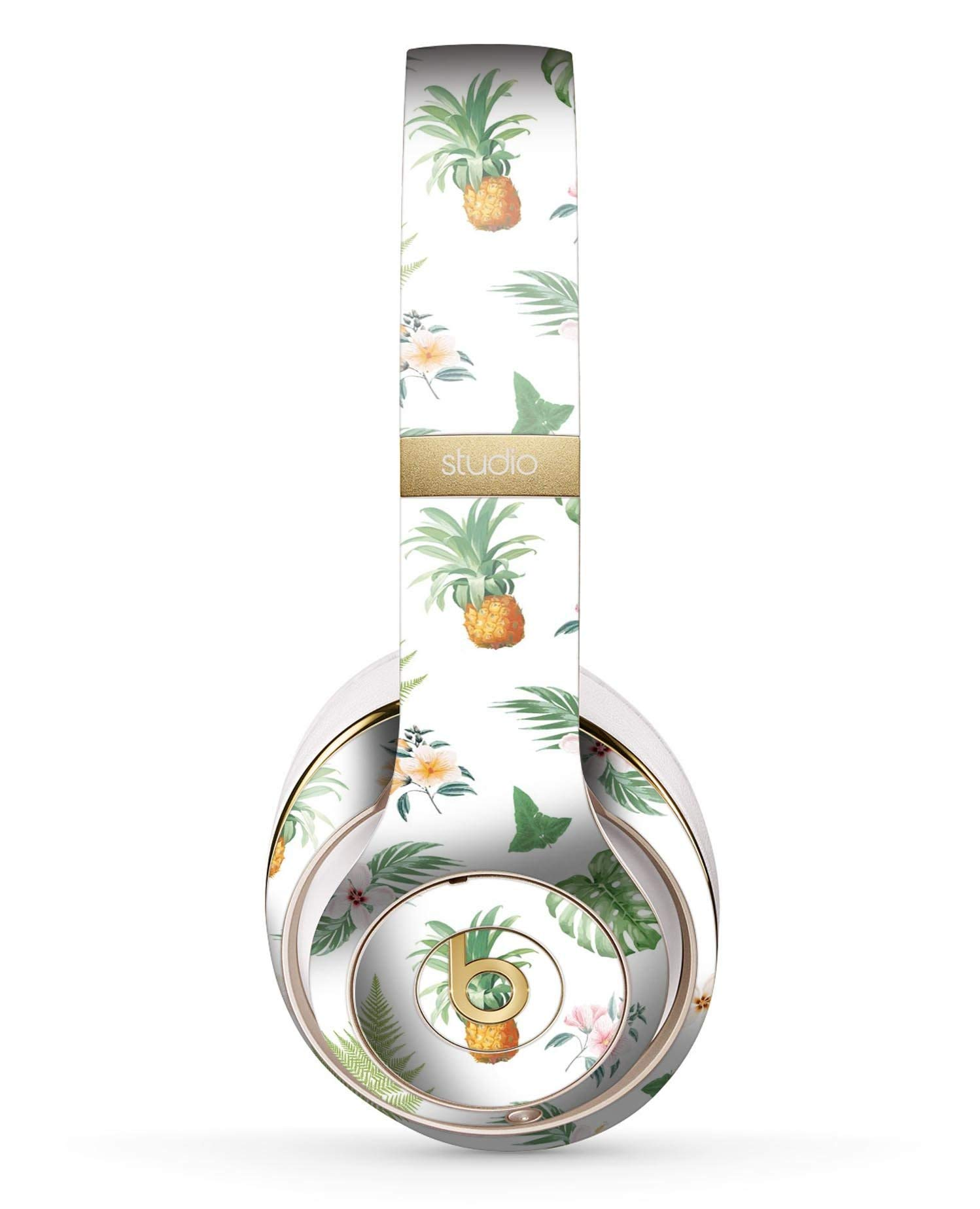 The Tropical Pineapple and Floral Pattern Design Skinz Full-Body Premium Authentic Skin Kit for The Beats by Dre Studio 2 or 3 Remastered Wireless Headphones Ultra-Thin Protective Decal Wrap