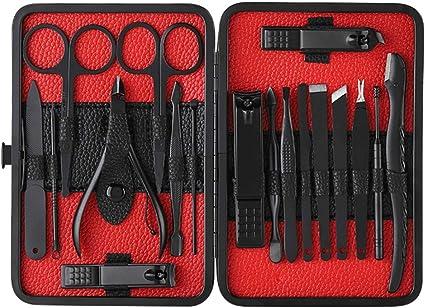 Anself 18 pcs Kit de Herramientas de Manicura Pedicura Profesional Juego de Cortauñas Recortador de Limas de Uñas Afeitado de Cejas Herramienta de Corte de Pelo de Nariz (negro): Amazon.es: Belleza