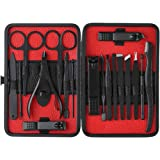 walmeck 18pcs Manicure Tool Kit Metal Nail Scissors Clippers Trimmers Grooming Kit With PU Bag for Hand Face Ear Foot, Nail Care Health Care Travel Manicure Set.