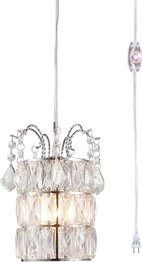 Plug in Pendant Lights Mini Crystal Pendant Lighting Plug in Chandelier 1 Light Hanging Light Fixture
