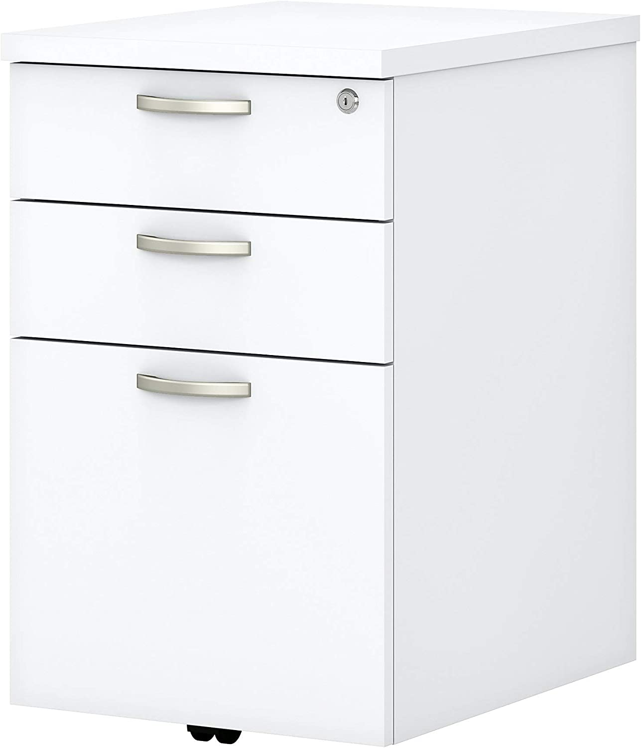 Bush Business Furniture Easy Office 16W 3 Drawer Mobile Pedestal, Pure White