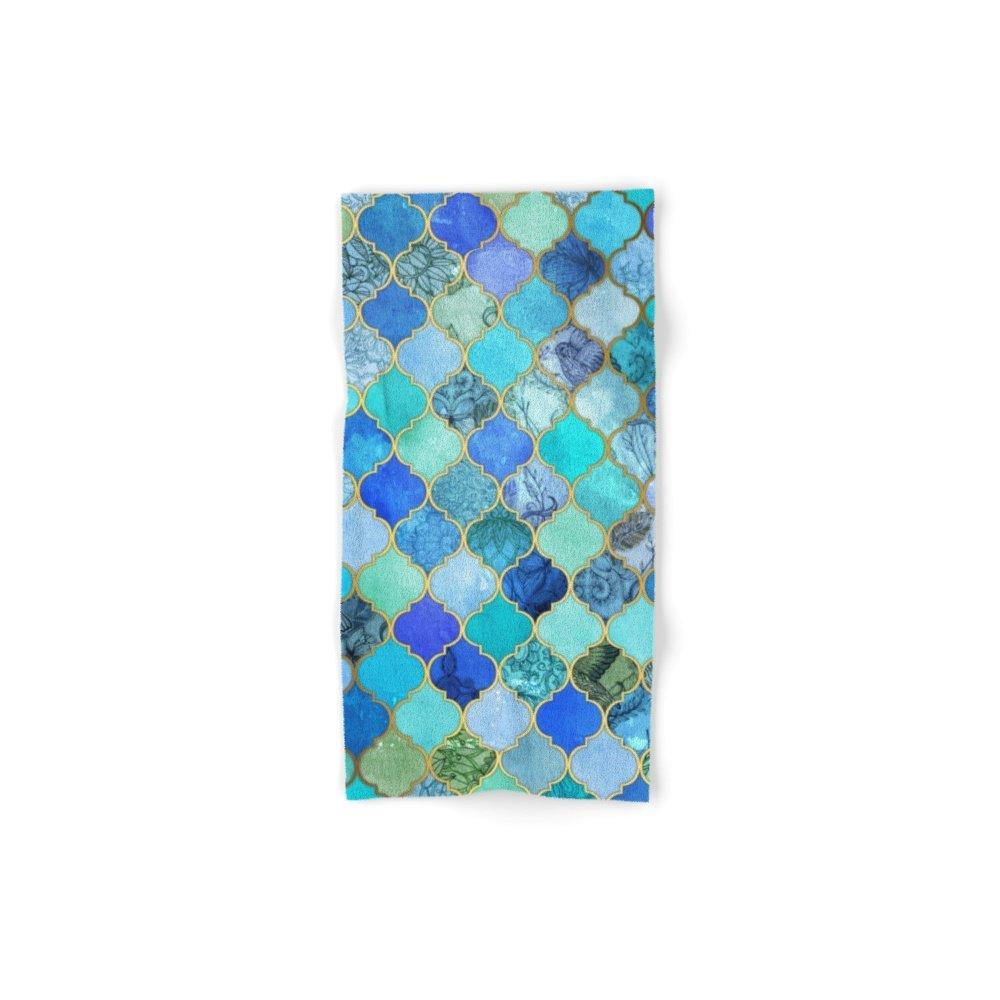 "Society6 Cobalt Blue, Aqua & Gold Decorative Moroccan Tile Pattern Hand Towel 30""x15"""