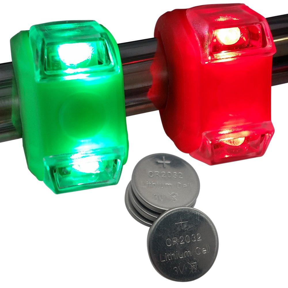 Bright Eyes Green & Red Portable Marine LED Boating Lights - Boat Bow or Stern Safety Lights - Water-resistant