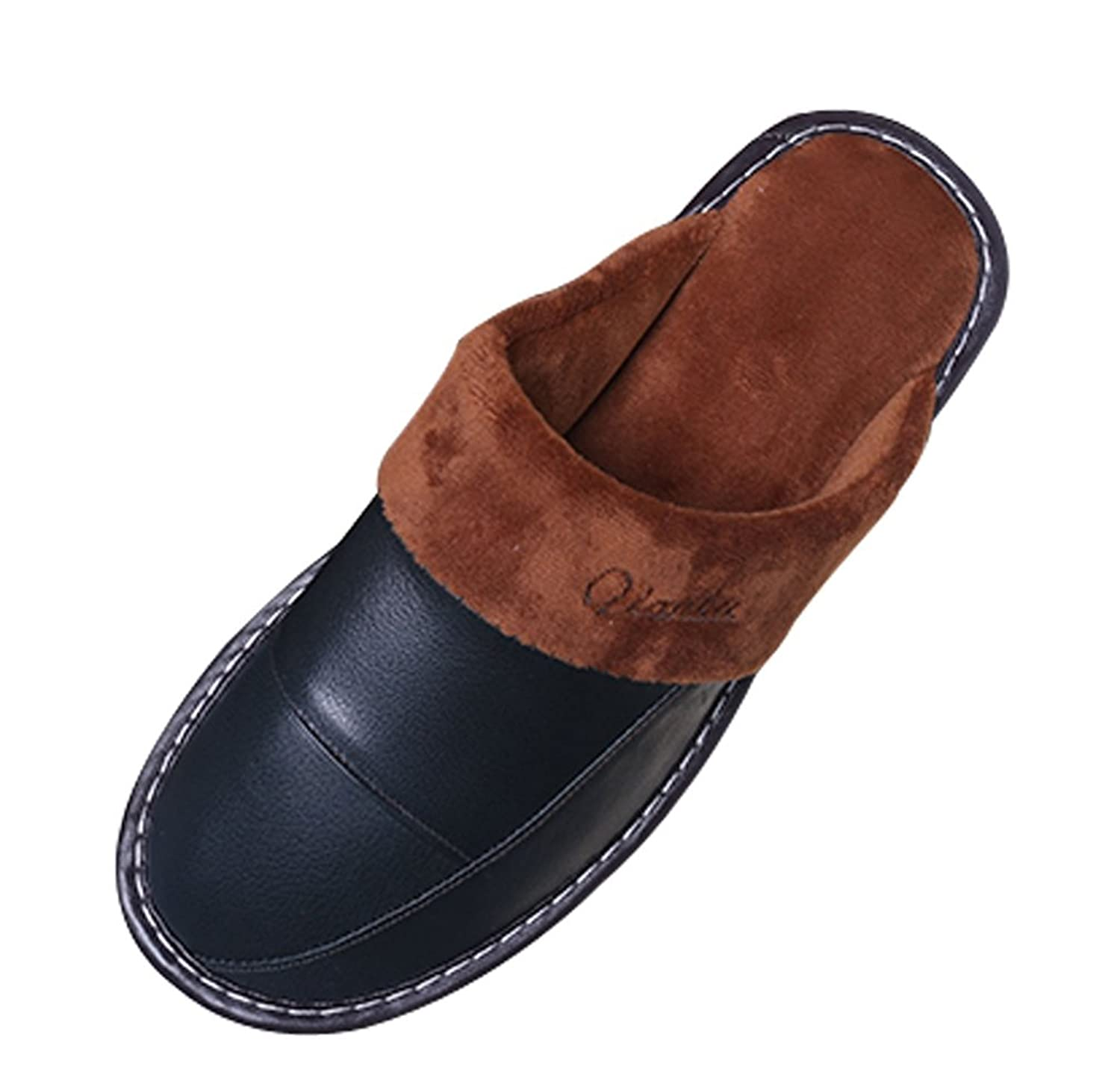 Mens Bedroom Slippers Leather Cattior Mens Fur Lined Indoor Outdoor House Slippers Leather