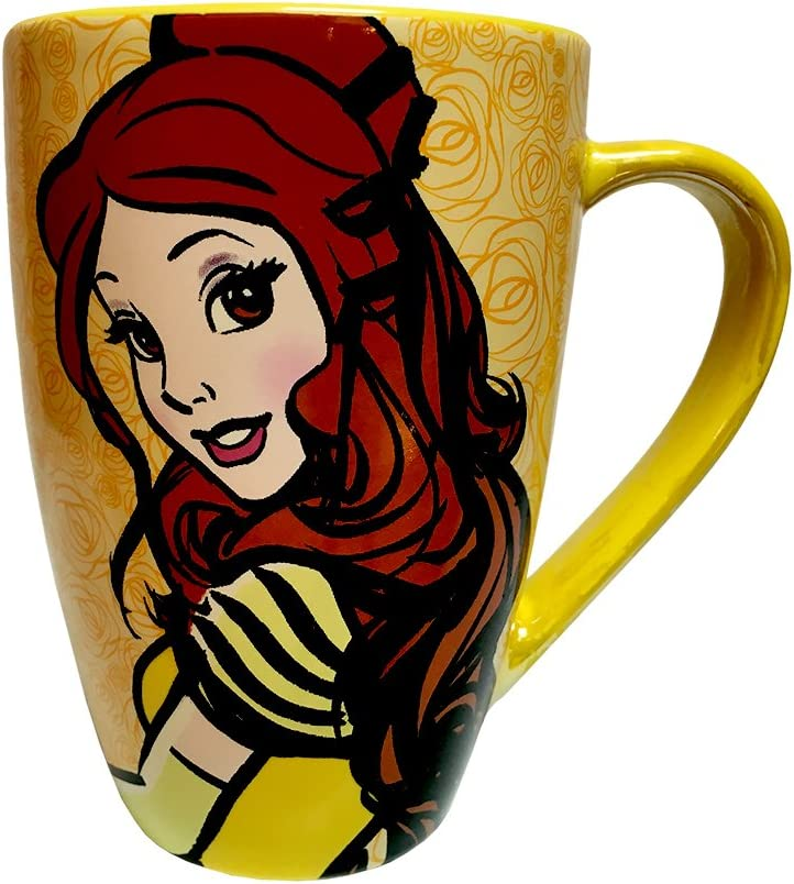 Amazon Com Disney Parks Exclusive Belle Beauty And The Beast Mornings Coffee Mug Kitchen Dining