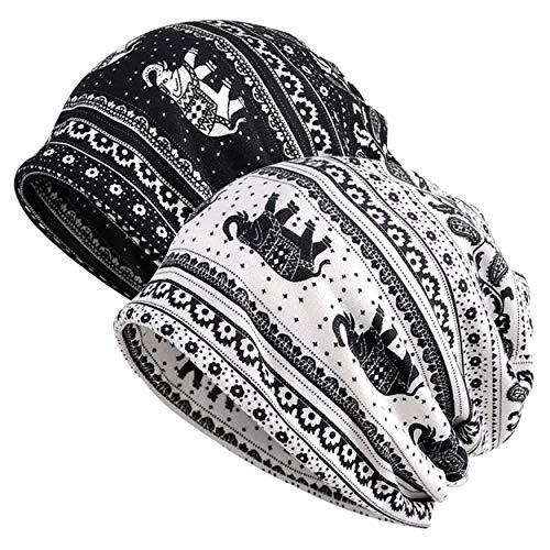 Jemis Skullies Beanies Thin Bonnet Cap Autumn Casual Beanies Hat (2 Pack- White & Black)