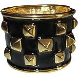 Kenneth Jay Lane Black Enamel And Polished Gold Plated Pyramid Cuff Bracelet
