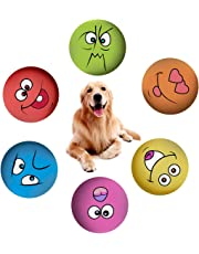 Dog Squeaky Toys, afafqfe 6 Parks Soft Dog Toys Rubber Pet Chewing Squeaky Toy Dog Teeth Squeaker Ball for Puppy Small Medium Pets Dog Cat