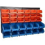 ECD Germany Werkstatt Wandregal 31teilig - Stapelboxen 18 mittlere und 12 große - inklusive Lochwand 64 x 38 cm - Steckregal - Schüttenregal - Lagersystem